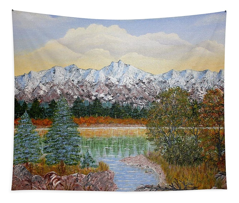 Landscape With Water Mountain Trees Tapestry featuring the painting Mountain Fall by Georgeta Blanaru