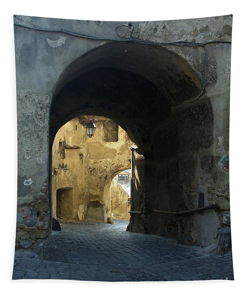 Sighisoara Tapestry featuring the photograph Old town gate 2 by Amalia Suruceanu