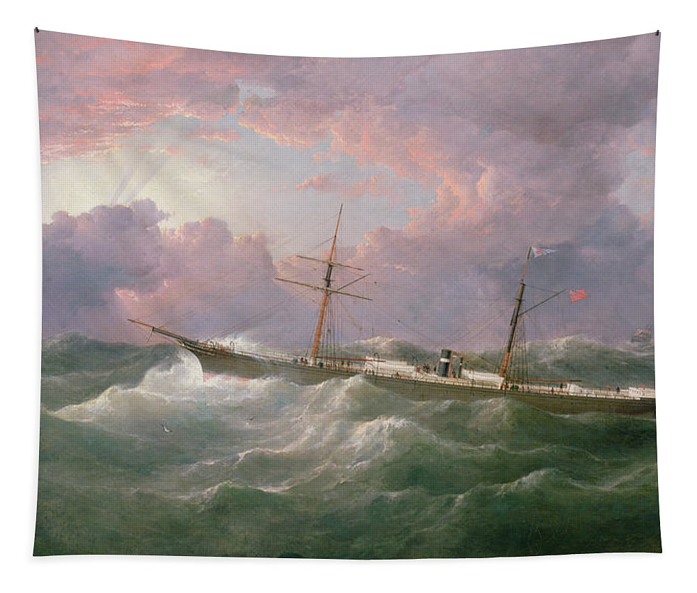 Storm; Sky Tapestry featuring the painting Portrait Of The Lsis A Steam And Sail Ship by Samuel Walters