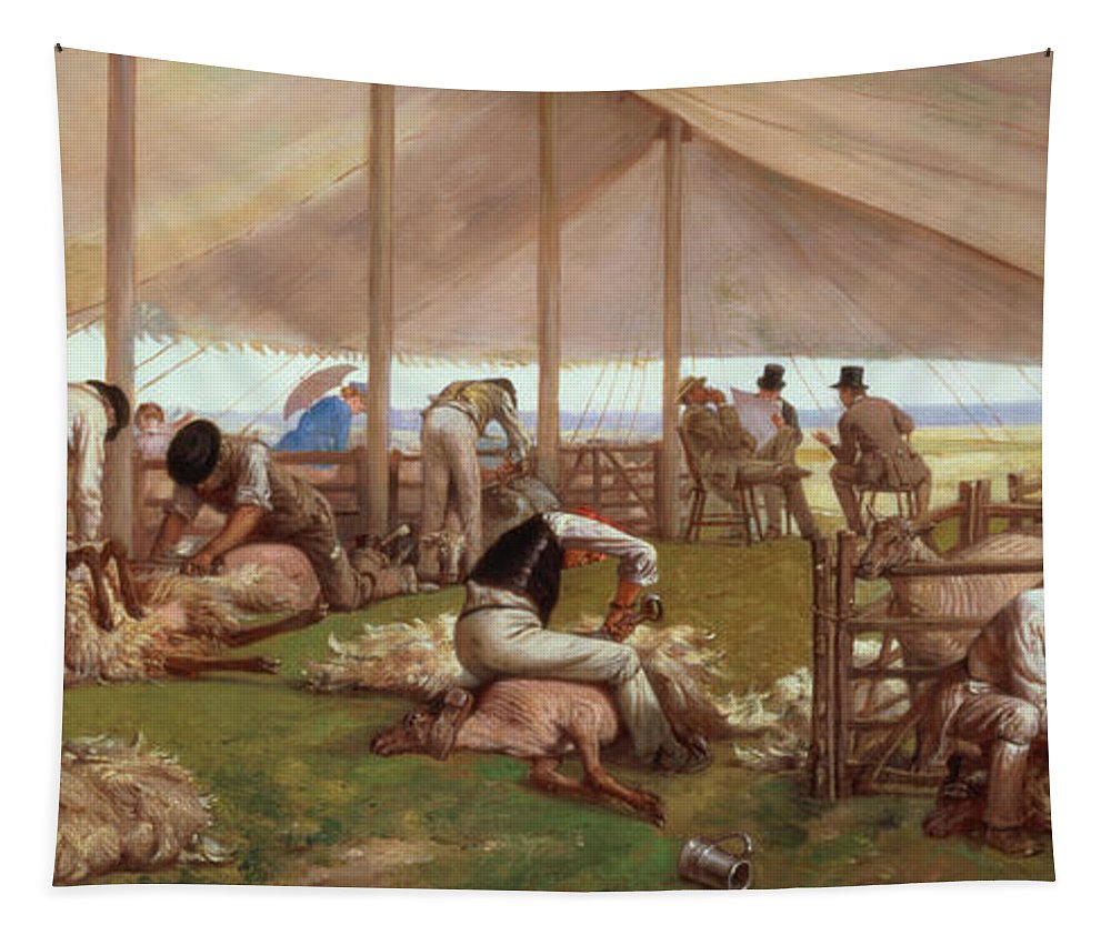 The Tapestry featuring the painting The Sheep Shearing Match by Eyre Crowe