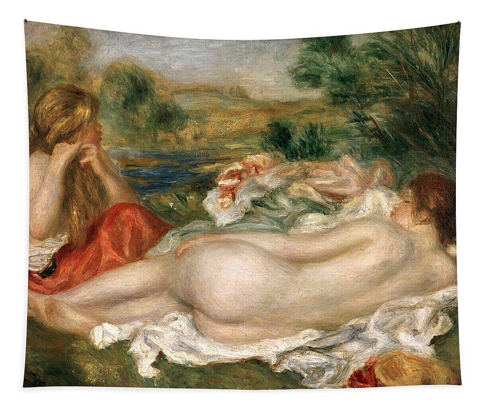 Deux Baigneuses; Bather; Reclining; Female; Nude; Arranging Hair; Lying Down; Impressionist; Baigneuse; Impressionism Tapestry featuring the painting Two Bathers by Pierre Auguste Renoir