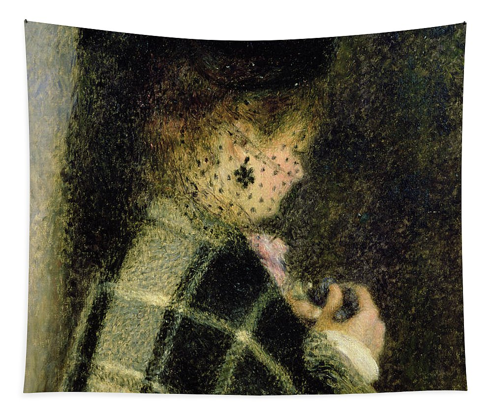 Female; Shawl; Checked; Rear View; Back; Lace Tapestry featuring the painting Young Woman With A Small Veil by Pierre Auguste Renoir