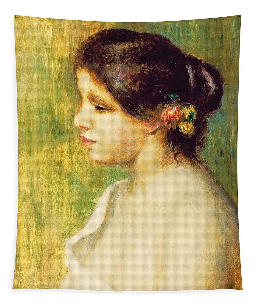 Impressionist; In Her Hair; Female; Portrait; Bather; Jeune Femme; Fleurs; Oreille Tapestry featuring the painting Young Woman With Flowers At Her Ear by Pierre Auguste Renoir