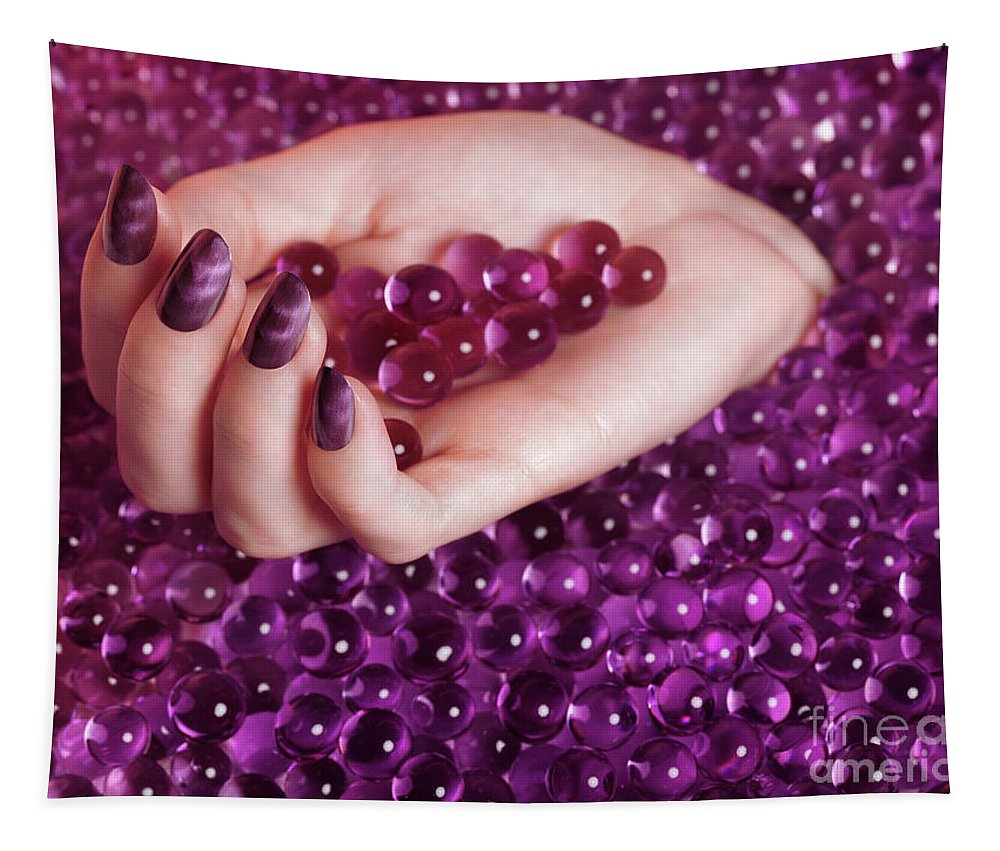 Nail Polish Tapestry featuring the photograph Abstract Woman Hand With Purple Nail Polish by Oleksiy Maksymenko