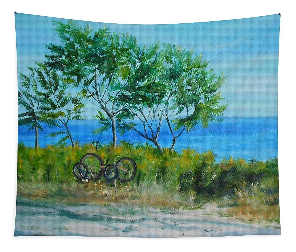 Ocean Tapestry featuring the painting 	Bikes Waiting				 by Susan Hanna