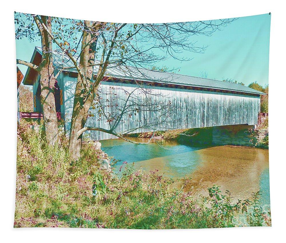 Covered Bridgem Tapestry featuring the photograph Bridge In Montgomery by Deborah Benoit