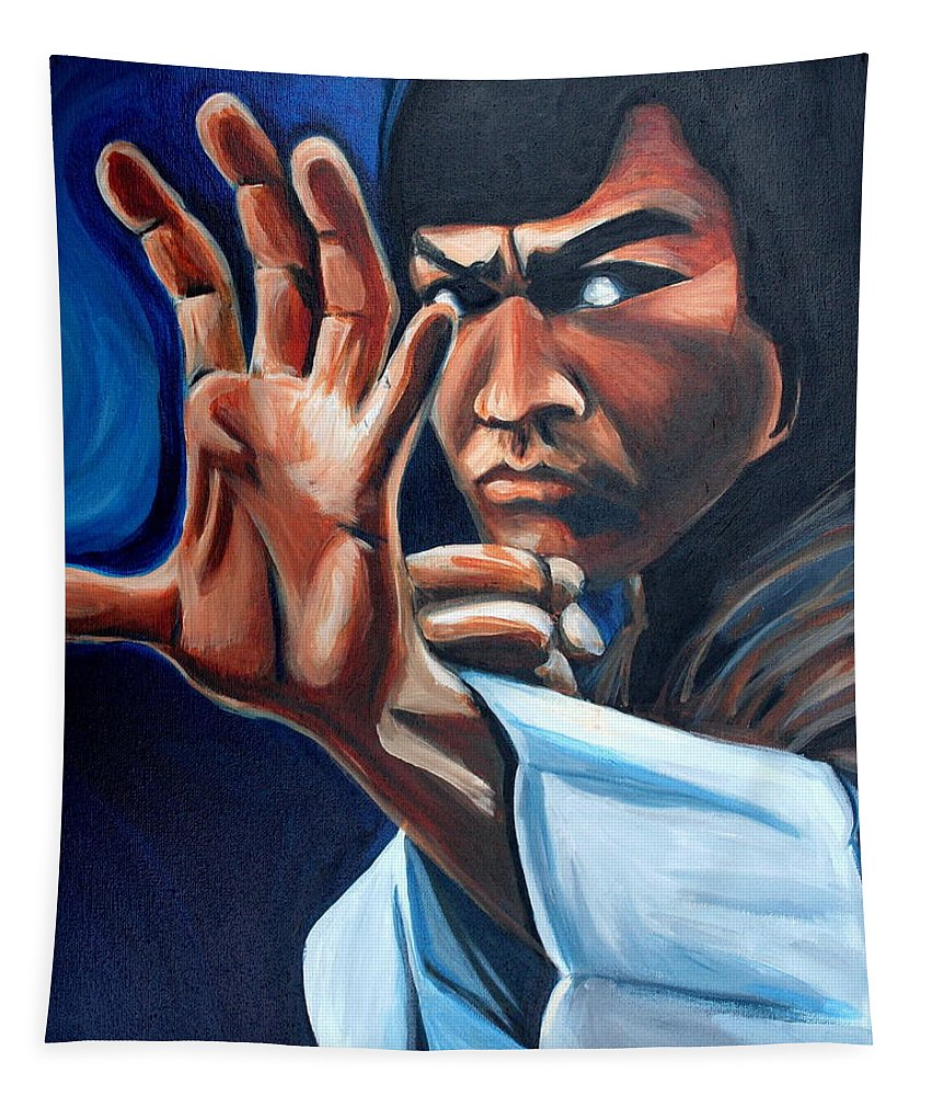 Tapestry featuring the painting Bruce Lee by Kate Fortin