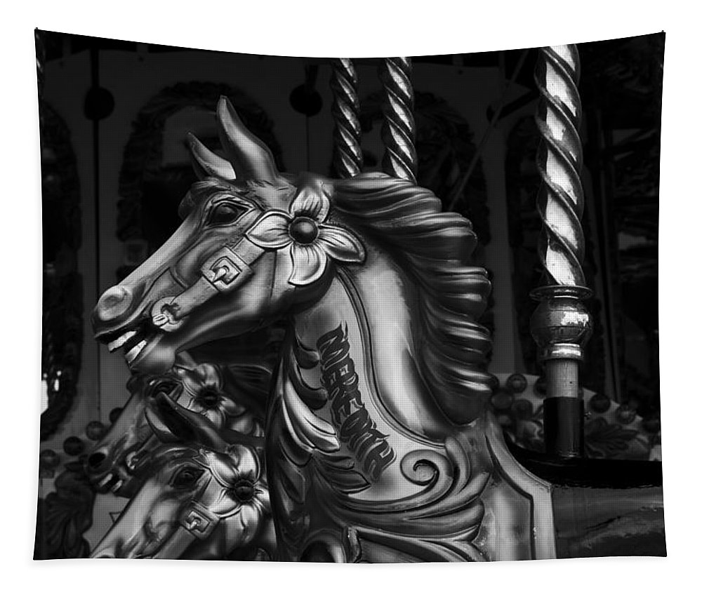Merry Go Round Horses Tapestry featuring the photograph Carousel Horses Mono by Steve Purnell
