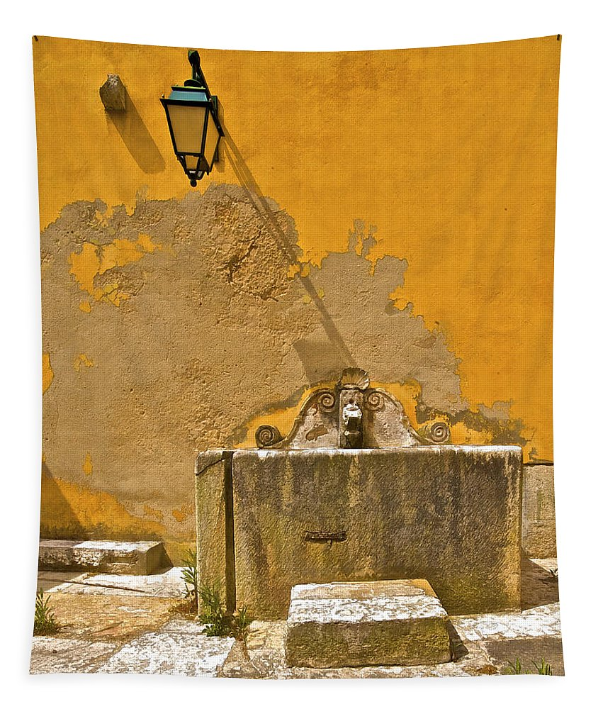 Barcarena Tapestry featuring the photograph Carved Stone Water Fountain Of Old World Europe by David Letts
