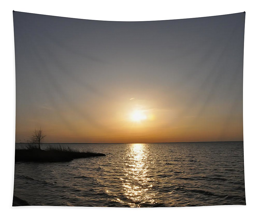 Chesapeake Bay Sunset Tapestry featuring the digital art Chesapeake Bay Sunset by Bill Cannon
