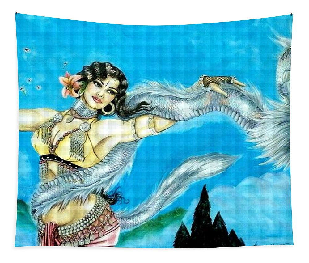 Pen And Ink Tapestry featuring the mixed media Dragon Dancer by Scarlett Royal