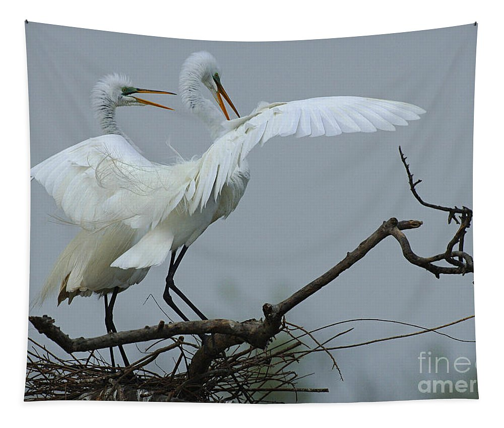 Egrets Tapestry featuring the photograph Great Egret Pair by Bob Christopher