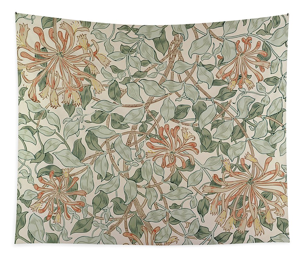 Arts And Crafts Movement; Floral; Pattern; Print Tapestry featuring the tapestry - textile Honeysuckle Design by William Morris