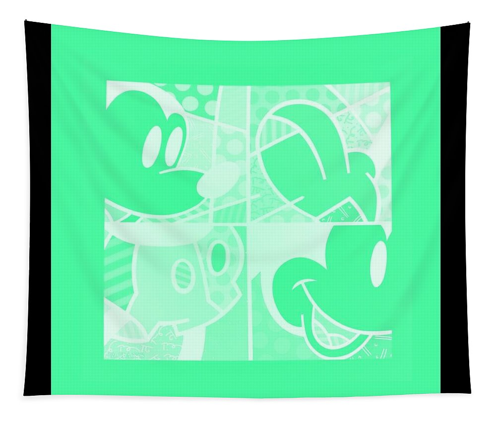 Mickey Mouse Tapestry featuring the photograph Mickey In Negative Light Green by Rob Hans
