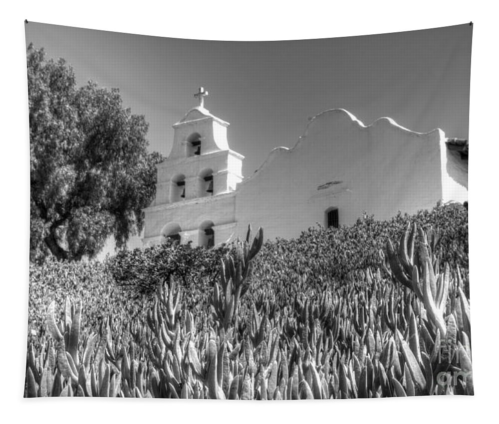 Mission San Diego De Alcala Tapestry featuring the photograph Mission San Diego De Alcala Monochrome by Bob Christopher