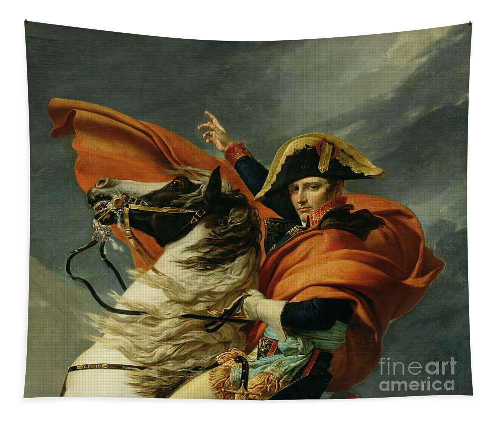 Equestrian; Portrait; Male; Man Tapestry featuring the painting Napoleon Crossing The Alps On 20th May 1800 by Jacques Louis David