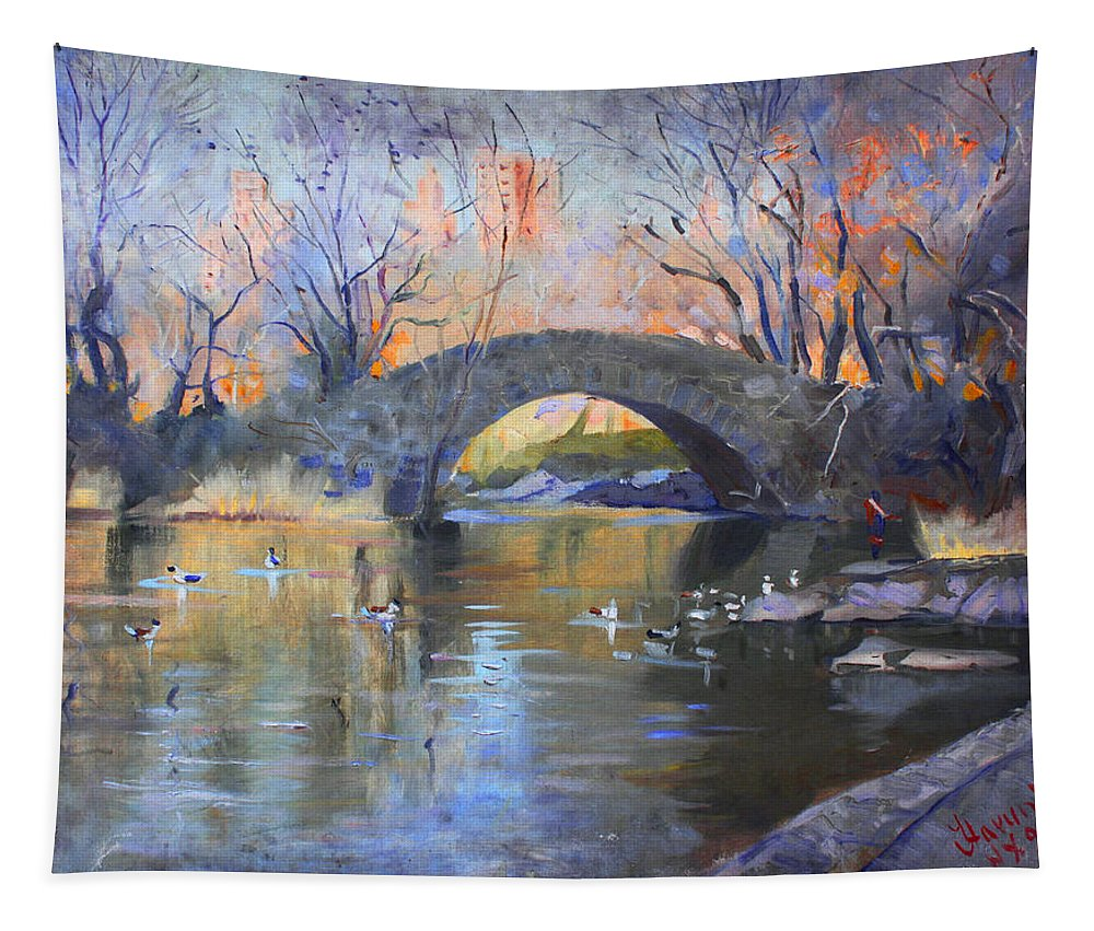 Nyc Tapestry featuring the painting Nyc Central Park by Ylli Haruni