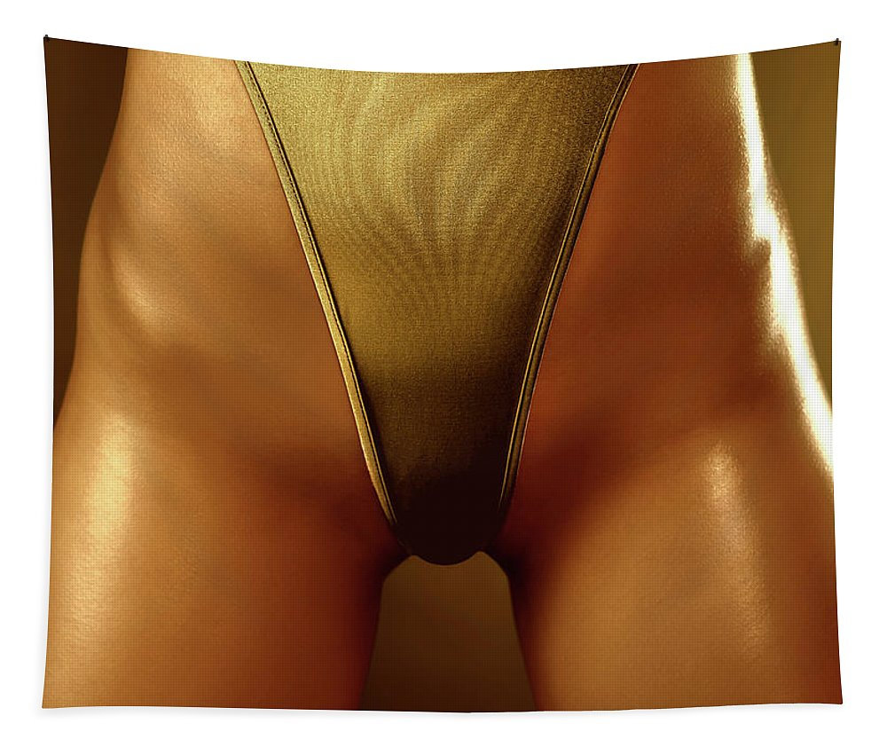 Swimsuit Tapestry featuring the photograph Sexy Covered With Gold Woman In High Cut Swimsuit by Oleksiy Maksymenko