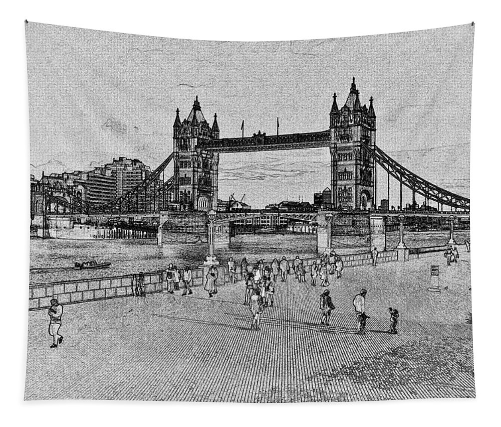 London Tapestry featuring the digital art Southbank London by David Pyatt