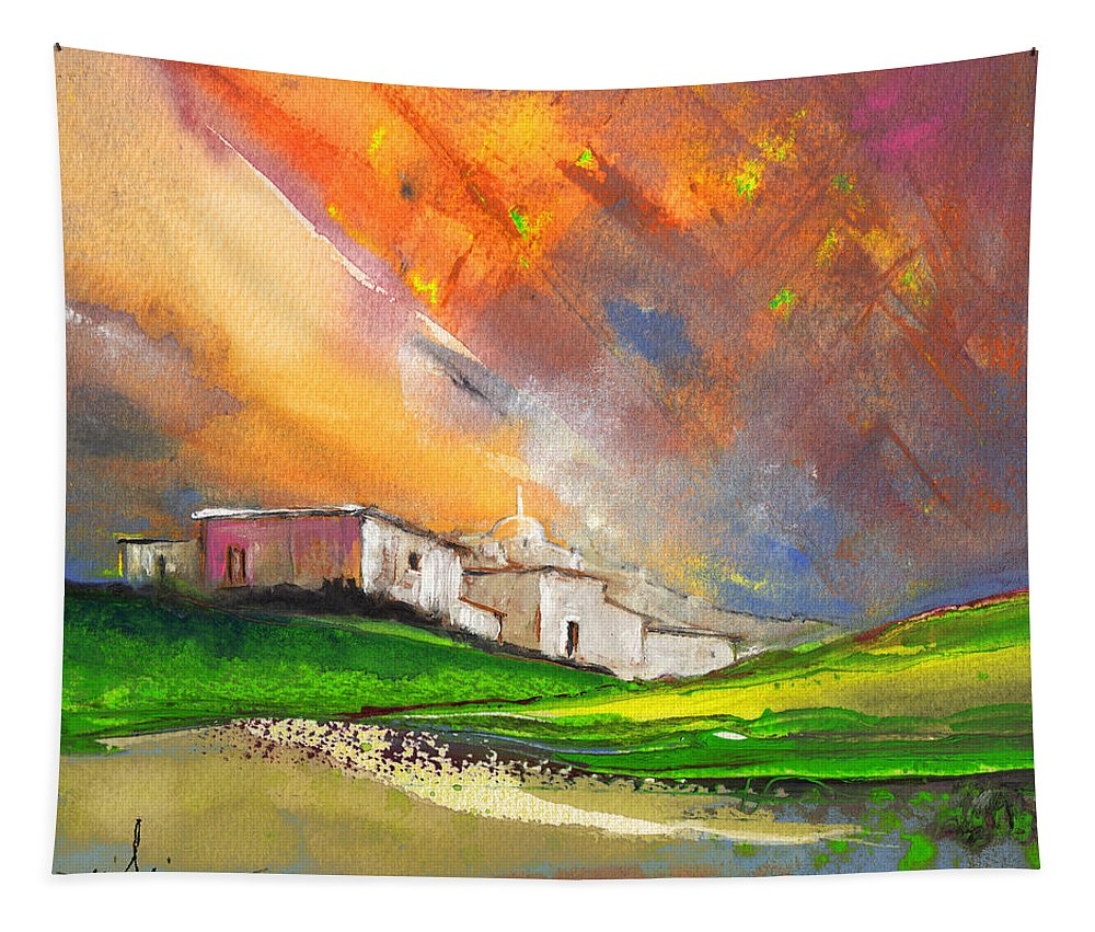 Landscapes Tapestry featuring the painting Sunset 25 by Miki De Goodaboom