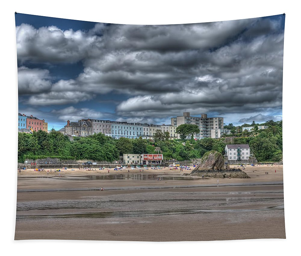 Tenby Harbour Tapestry featuring the photograph Tenby North Beach by Steve Purnell