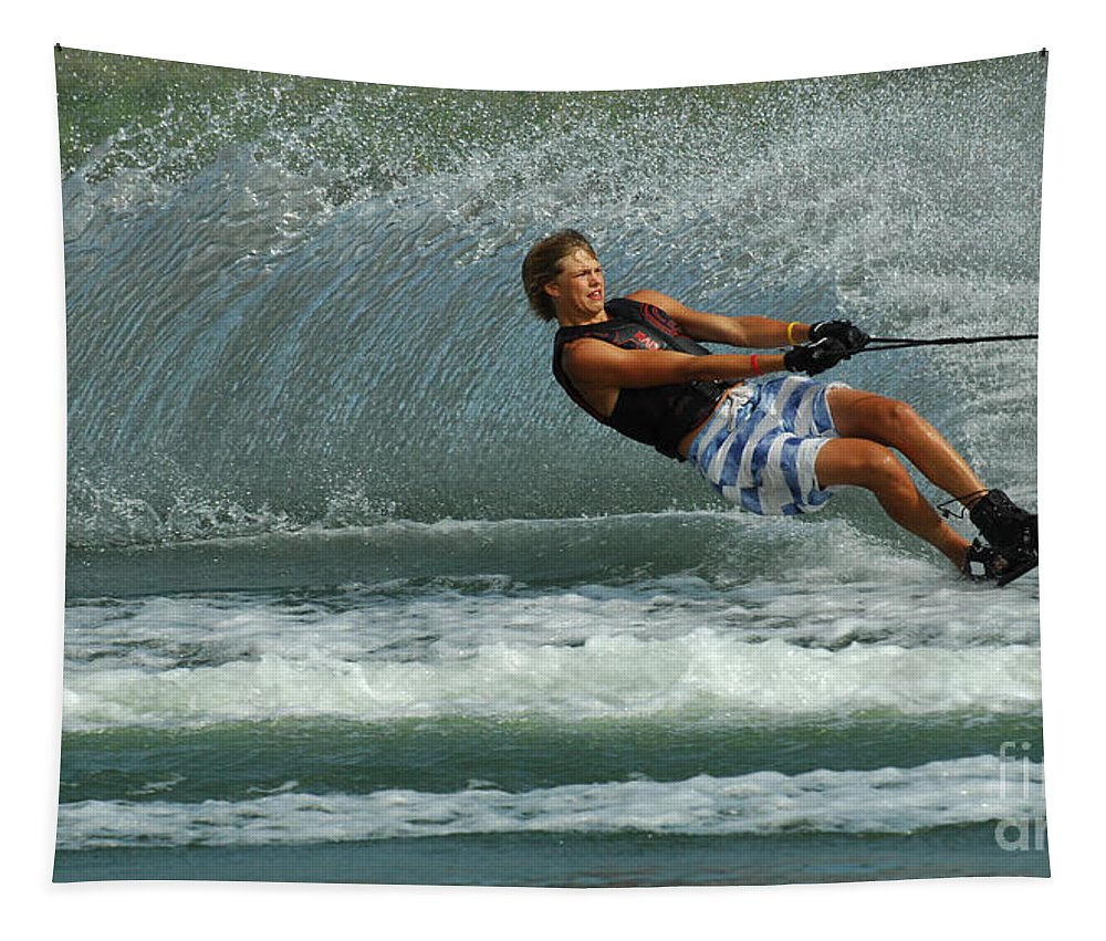 Water Skiing Tapestry featuring the photograph Water Skiing Magic Of Water 28 by Bob Christopher