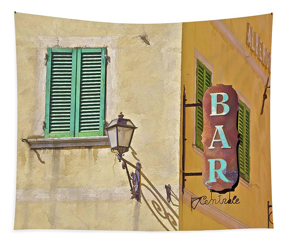 Antique Tapestry featuring the photograph Weathered Rustic Metal Bar Sign by David Letts