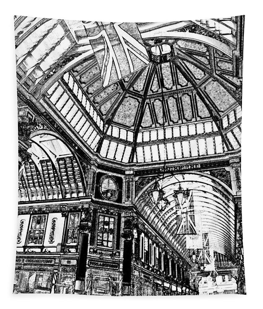 Leadenhall Tapestry featuring the digital art Leadenhall Market London by David Pyatt