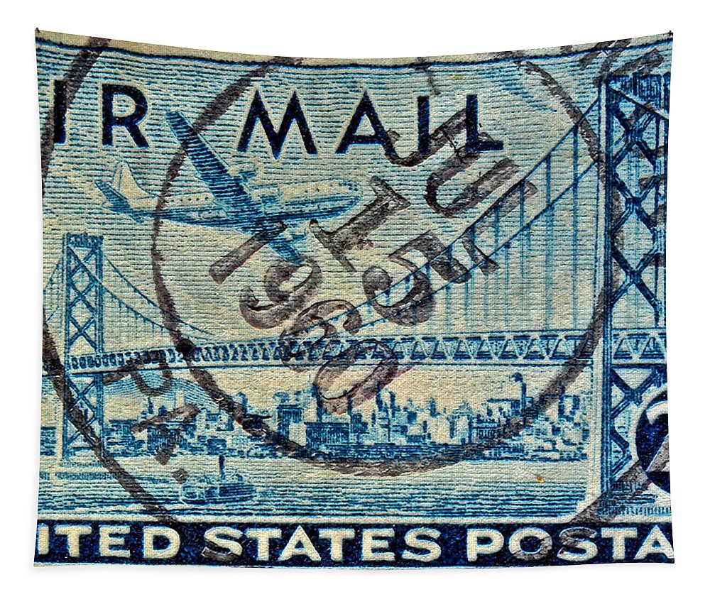 1946 Tapestry featuring the photograph 1946 Oakland Bay Bridge Air Mail Stamp by Bill Owen