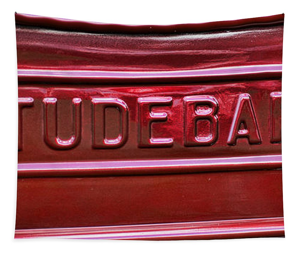 1947 Studebaker Tail Gate In Cherry Red For Pick Up Truck Tapestry featuring the photograph 1947 Studebaker Tail Gate Cherry Red by Paul Ward