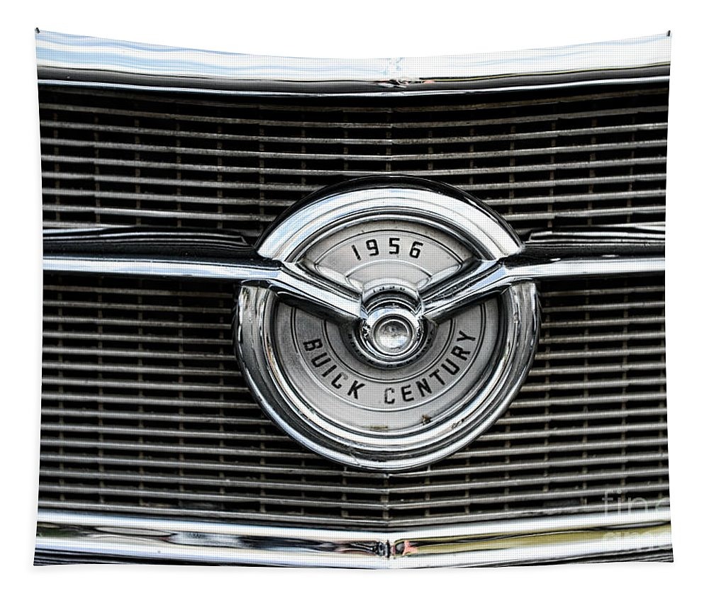 1956 Buick Century Grill Emblem Tapestry featuring the photograph 1956 Buick Century Grill Emblem by Paul Ward