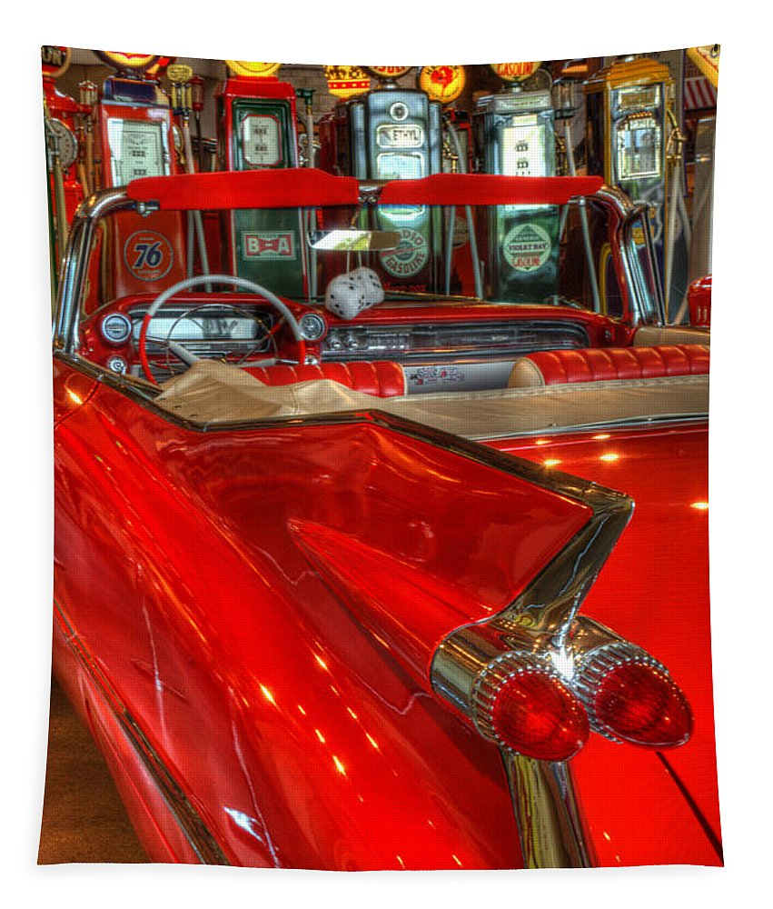 Cars Tapestry featuring the photograph 1959 Cadillac At The Pumps by Bob Christopher