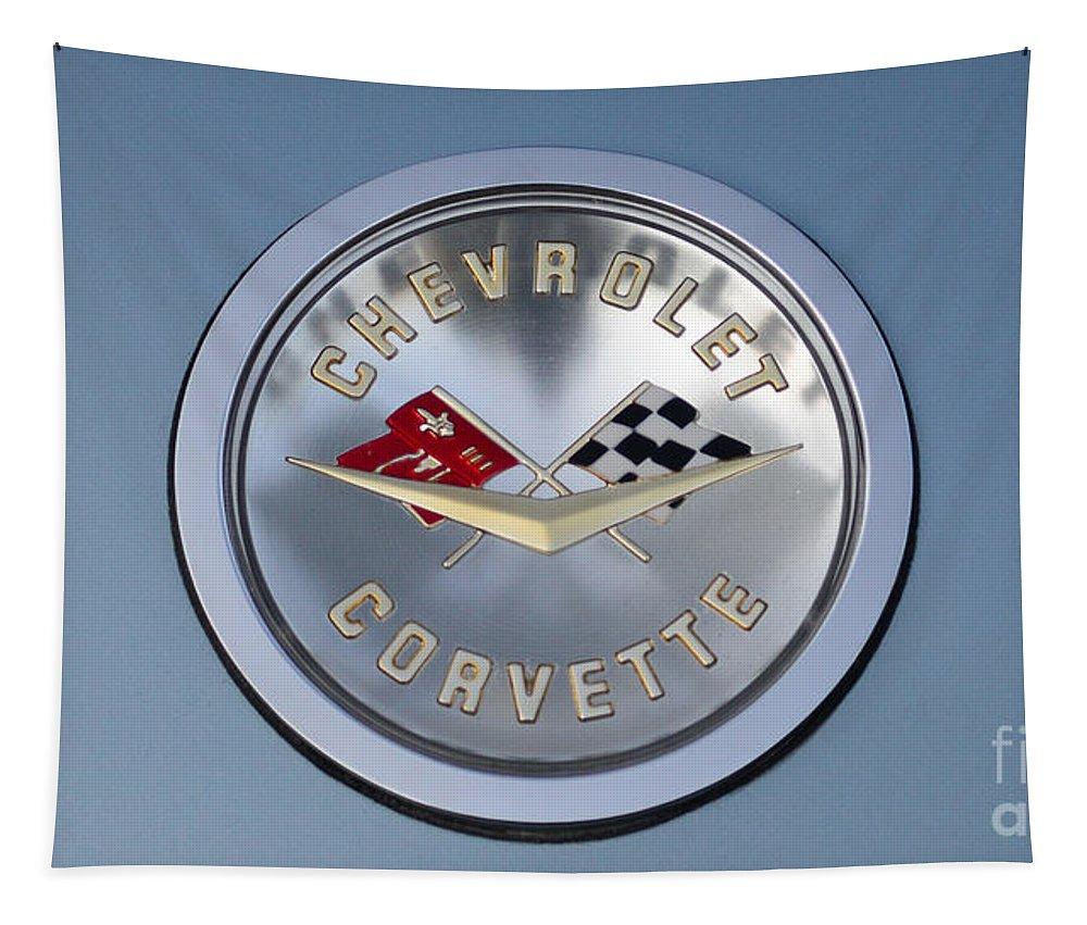 1959 Corvette Emblem Tapestry featuring the photograph 1959 Corvette Emblem by Paul Ward