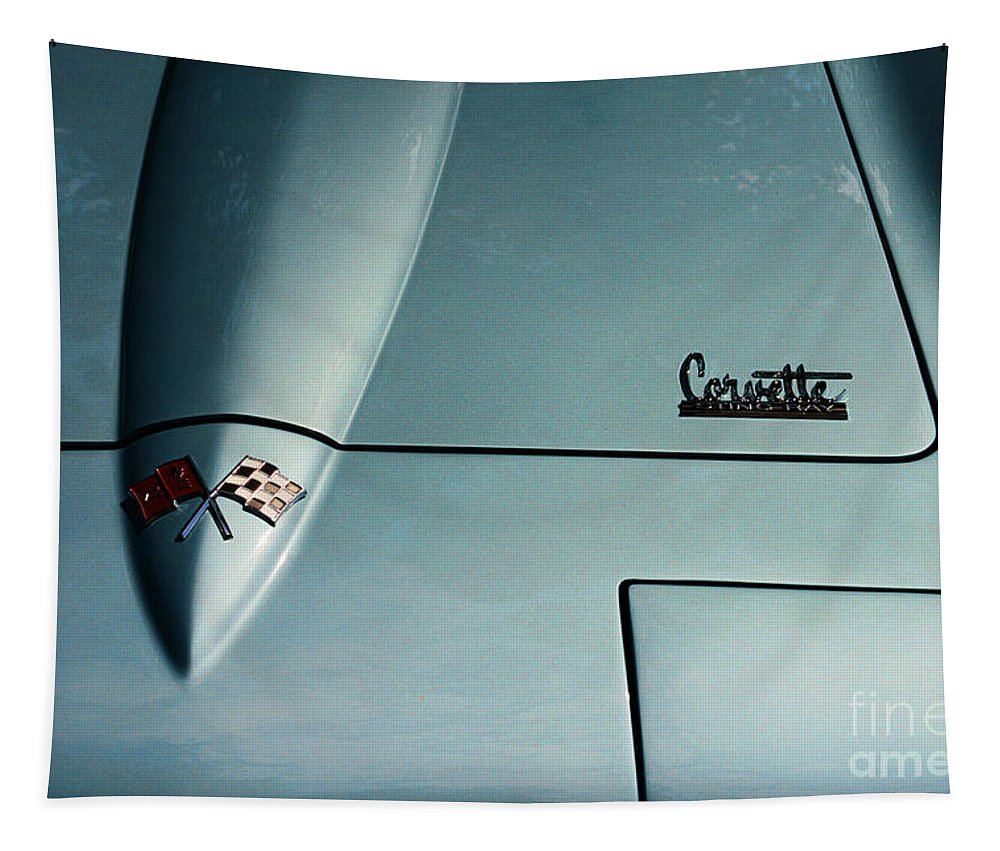 1966 Corvette Sting Ray Tapestry featuring the photograph 1966 Corvette Sting Ray Hood Insignia by Paul Ward