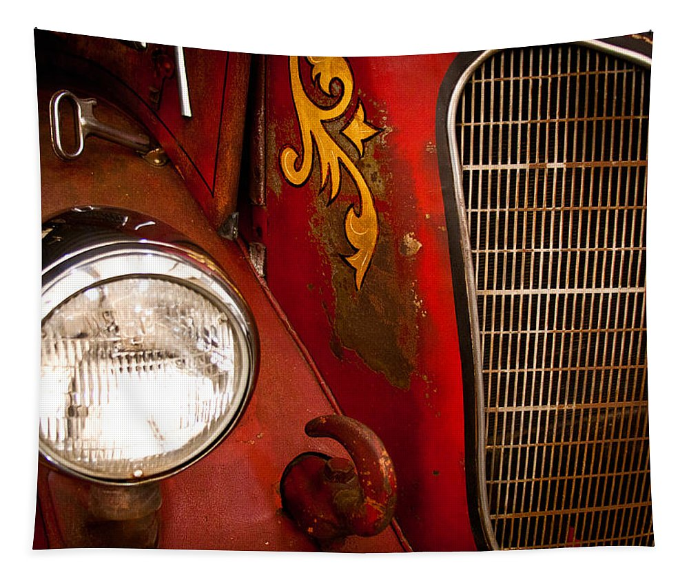 41 Tapestry featuring the photograph 1941 Hahn Open Cab Fire Engine by David Patterson