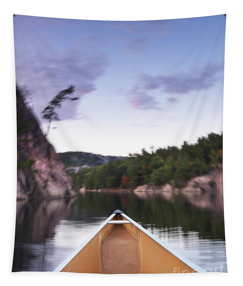 Canoe Tapestry featuring the photograph Canoeing In Ontario Provincial Park by Oleksiy Maksymenko