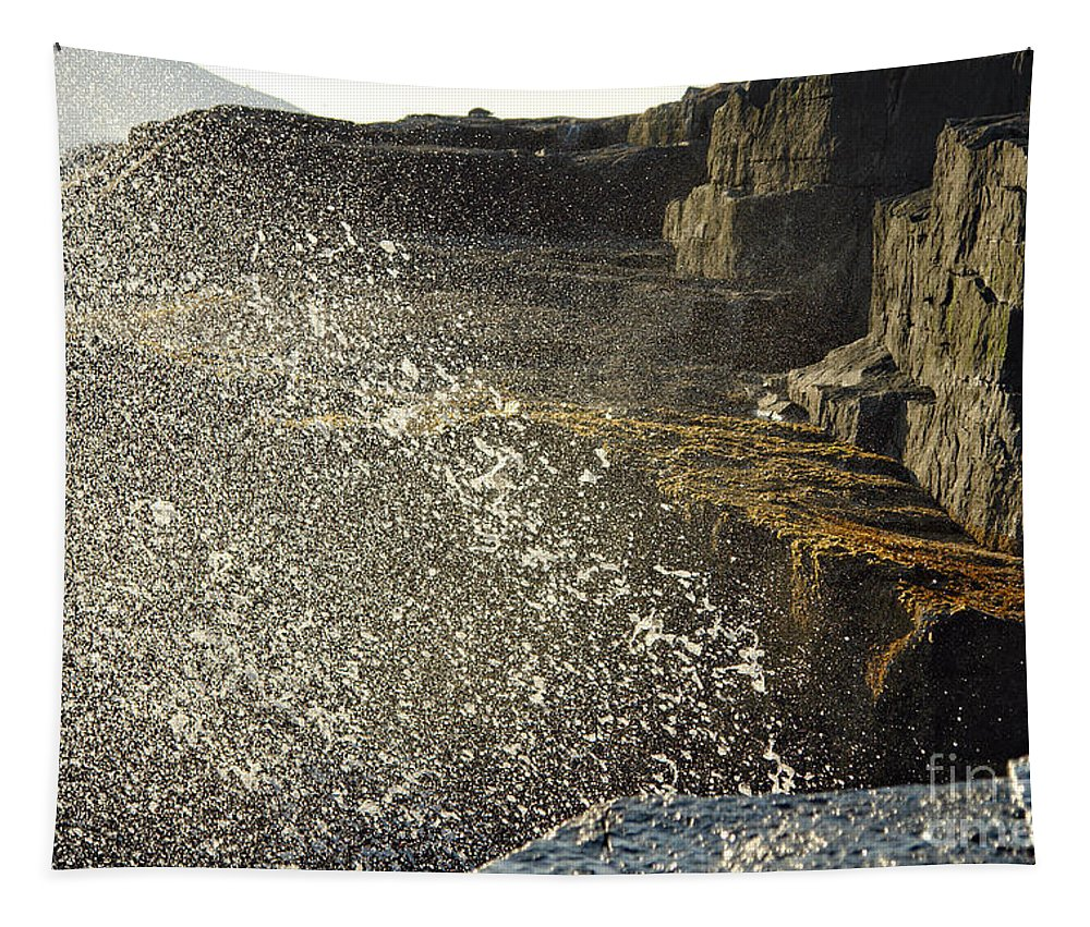 Maine Tapestry featuring the photograph Crashing Waves by Olivier Le Queinec