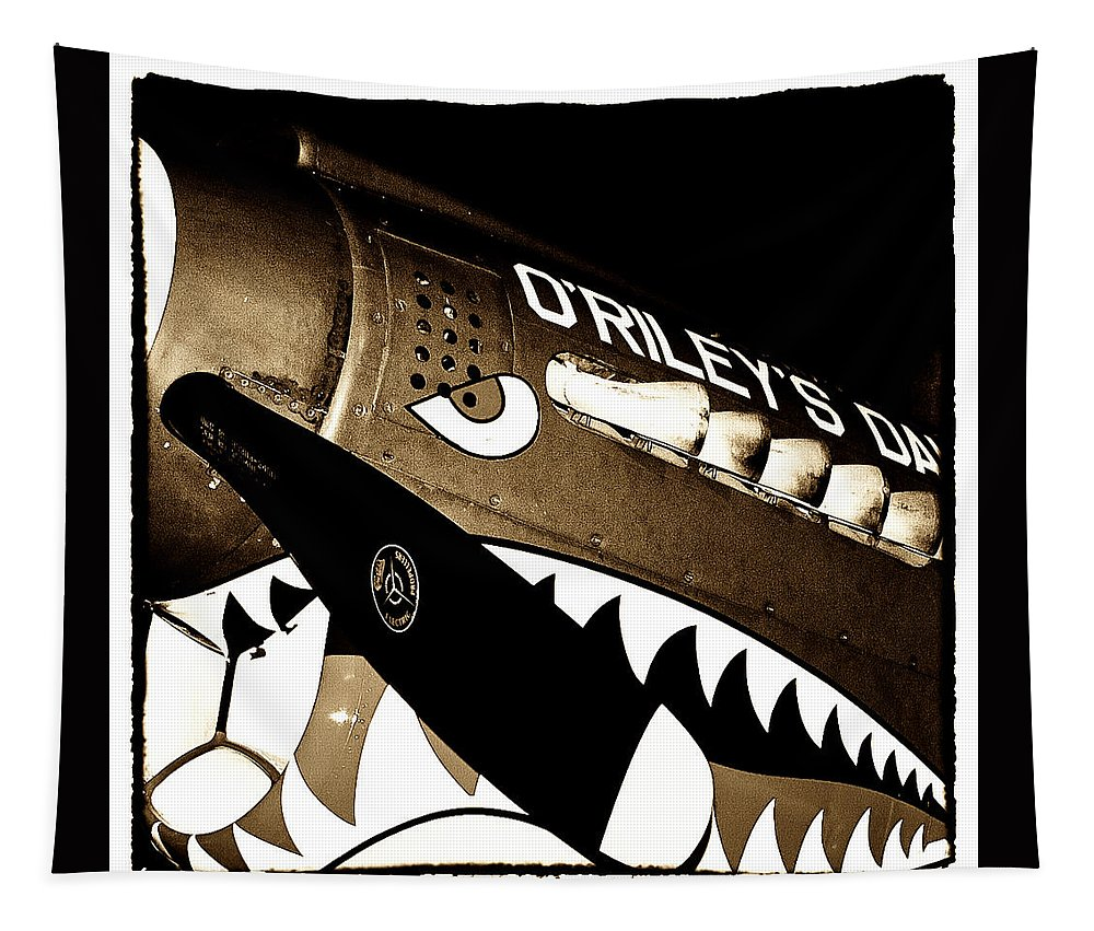 Fighter Tapestry featuring the photograph Curtiss P-40n Warhawk by David Patterson
