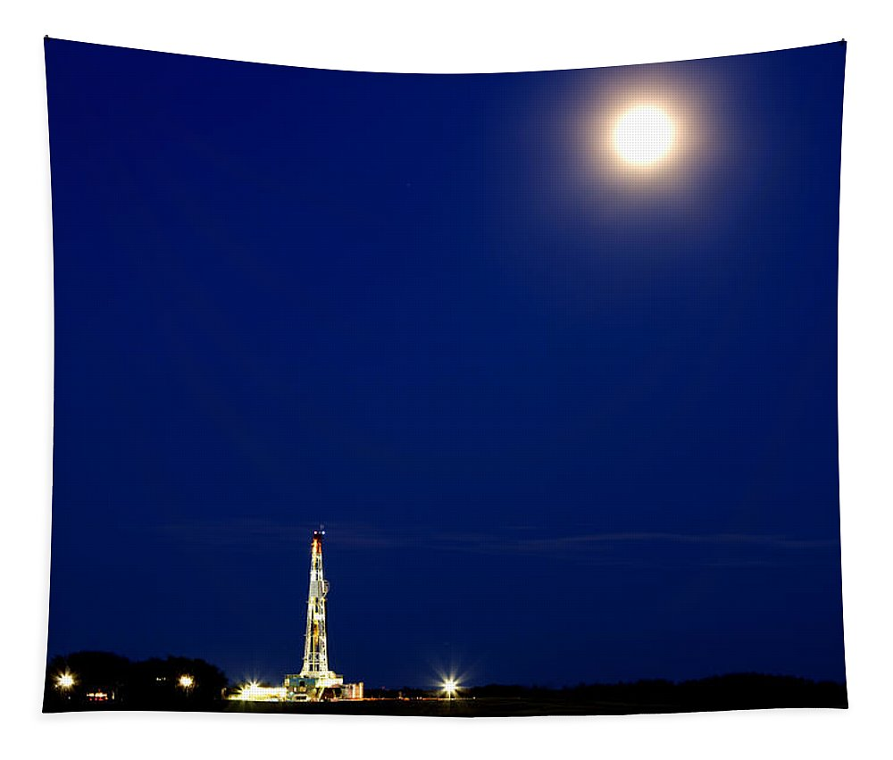 Rig Tapestry featuring the photograph Night Shot Drilling Rig by Mark Duffy