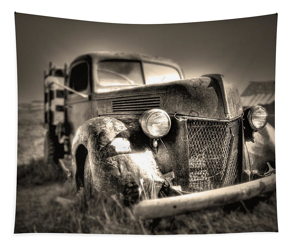 Old Truck At Bodie Tapestry featuring the photograph Old Truck At Bodie by Chris Brannen