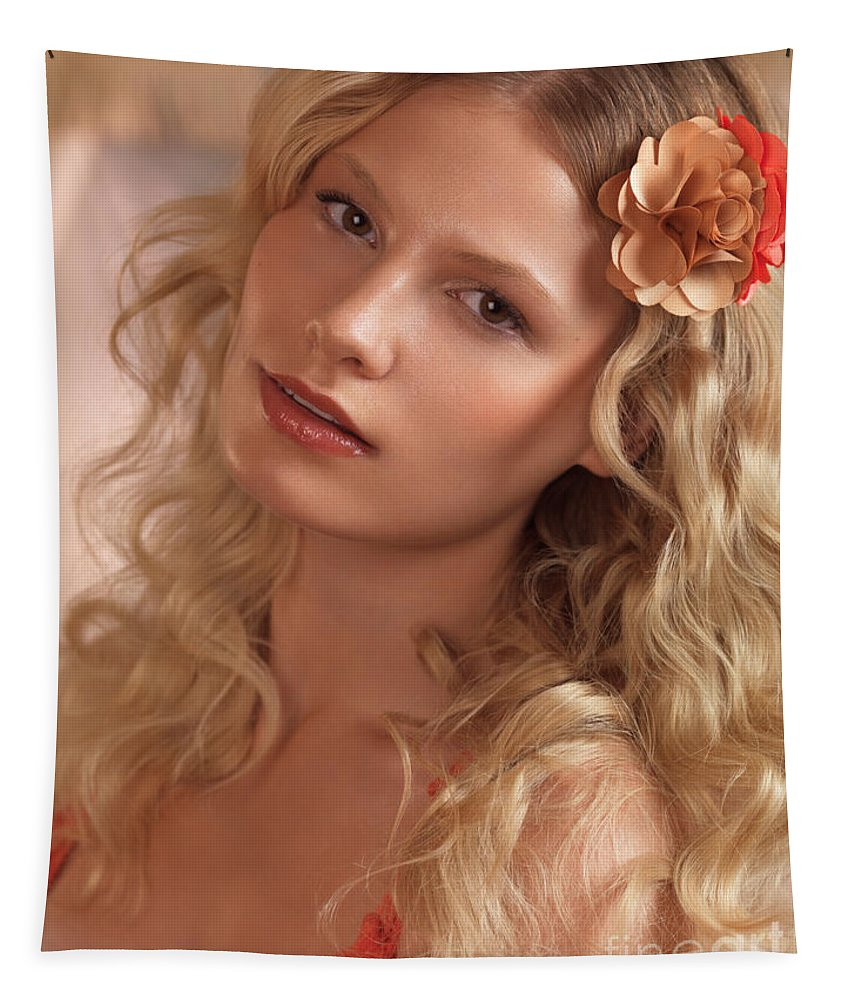 Beauty Tapestry featuring the photograph Portrait Of A Beautiful Young Woman by Oleksiy Maksymenko