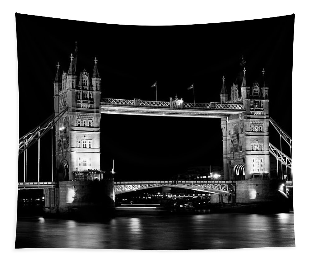 Tower Tapestry featuring the photograph Tower Bridge At Night by David Pyatt