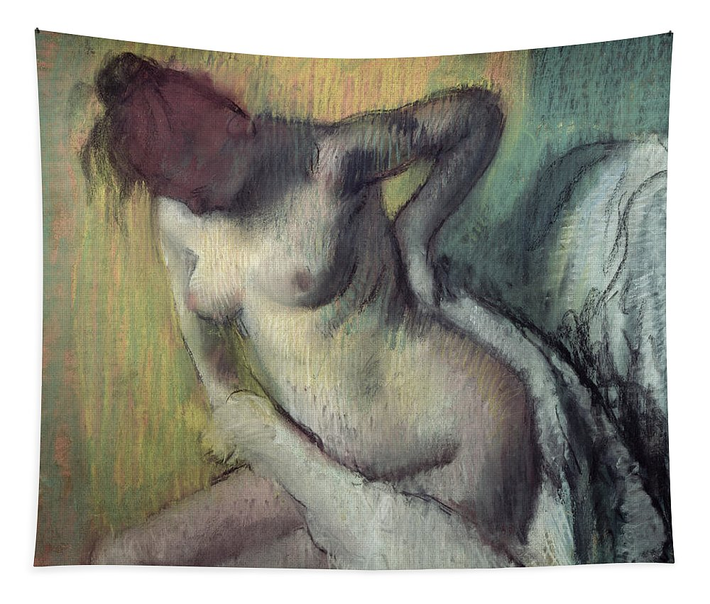 Impressionist; Female; Nude; Naked Tapestry featuring the painting Woman Drying Herself by Edgar Degas