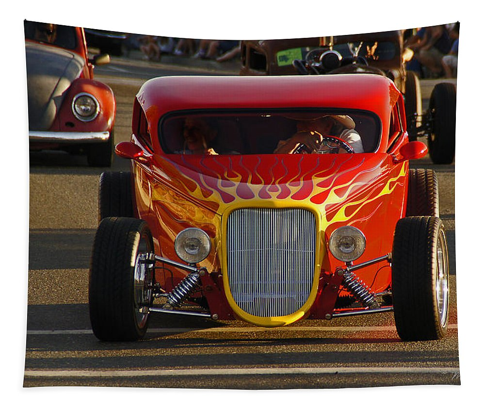Hot Rod Tapestry featuring the photograph 2012 Grants Pass Cruise - Hot Rod Rules by Mick Anderson