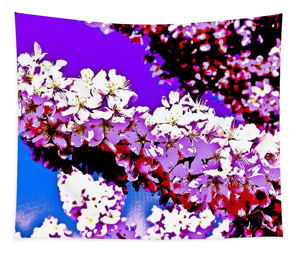 Cherry Tapestry featuring the digital art Cherry Blossom Art by David Pyatt