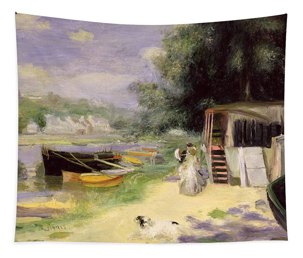 Grenouillere Tapestry featuring the painting La Grenouillere by Pierre Auguste Renoir