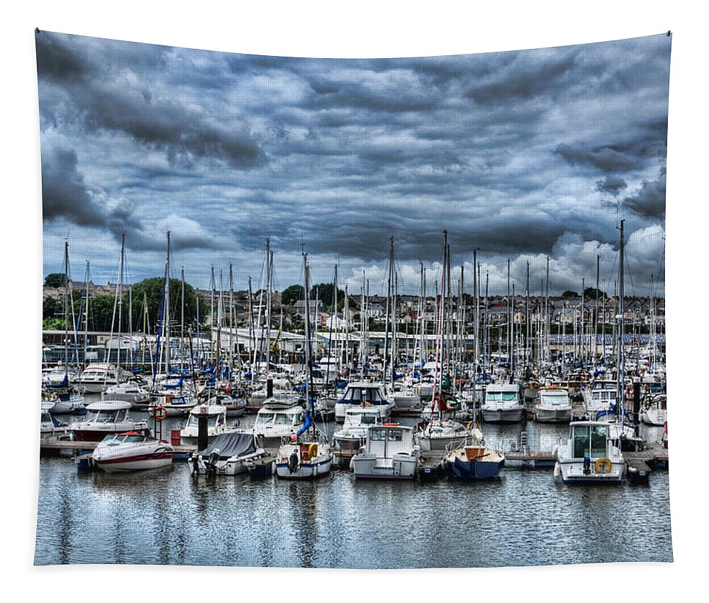 Milford Haven Marina Tapestry featuring the photograph Milford Haven Marina by Steve Purnell