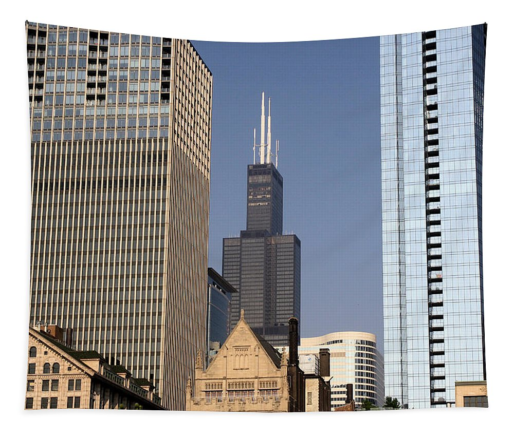 Chicago Tapestry featuring the photograph Sears Tower by Ely Arsha
