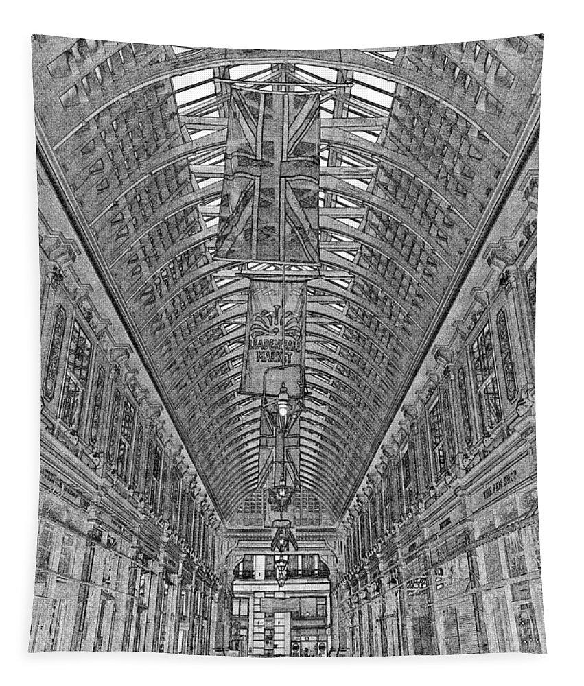 Leadenhall Market Tapestry featuring the digital art Leadenhall Market London by David Pyatt