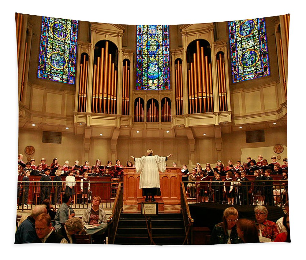 Choir St. James Cathedral Tapestry featuring the photograph St James Cathedral by Mike Penney